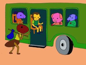 Kidsonline-Truyện hay mầm non: Truyện chủ đề Giao thông-Kiến con đi ô tô