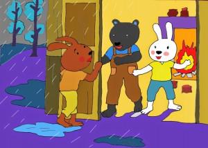 KidsOnline-Truyện hay mầm non-truyện chủ đề gia đình-bác gấu đen và hai chú thỏ