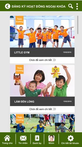 Sổ liên lạc điện tử Kidsonline - Đăng ký hoạt động ngoại khóa cho con